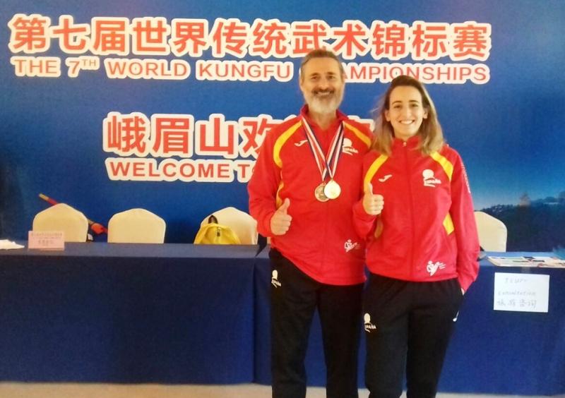 Deportistas alto nivel de judo (wushu) Alba y Eloy del Oviedo Sport.